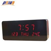 JINSUN Modern sensor Wood Clock Dual led display Bamboo Clock digital alarm clock Led Show Temp Time reloj despertador Wekker