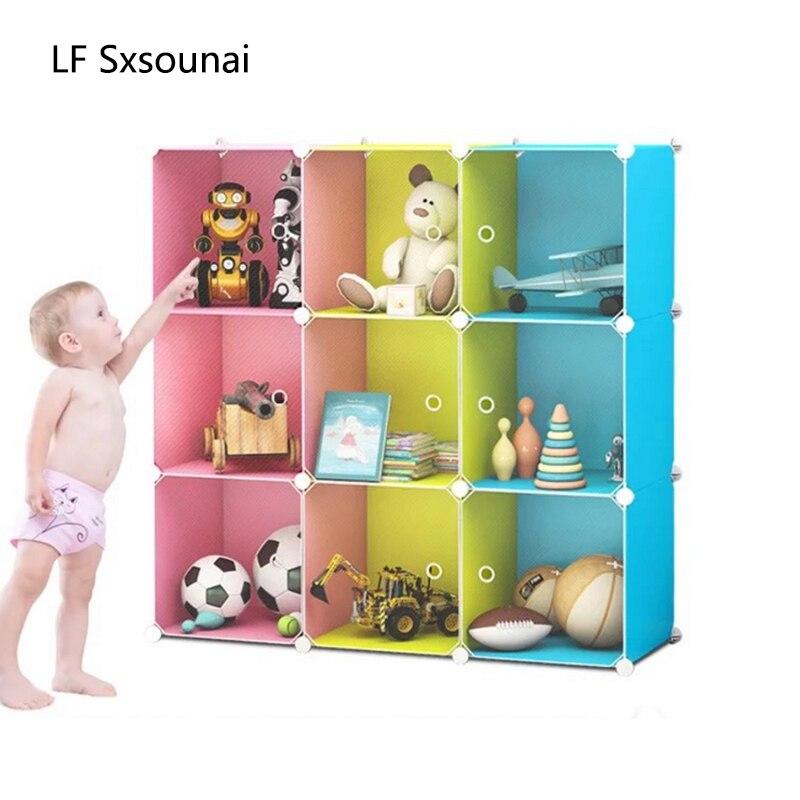 LF Sxsounai 9 grilles mignon jouet bibliothèque armoire en plastique résine magique bricolage environnement boîte de rangement jouet rack simple chambre 2018