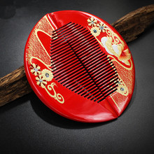 Купить с кэшбэком Hot sale Natural hand painted boxwood comb with dragon and phoenix patterns, festive wedding comb,  massage function comb
