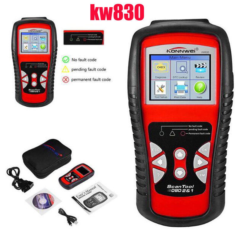 2017 LATEST KONNWEI Diagnostic Code Reader Car Fault  Auto  Scanner Tool KW830 OBDII/EOBD Car detector Automotive Tool kw830 obd2 eobd car fault code reader scanner automotive diagnostic scan tool can test battery