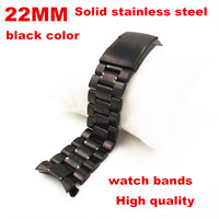 2014 New Product 1PCS High Quality 22MM Solid Stainless Steel Links Watch Band Watch Strap Black