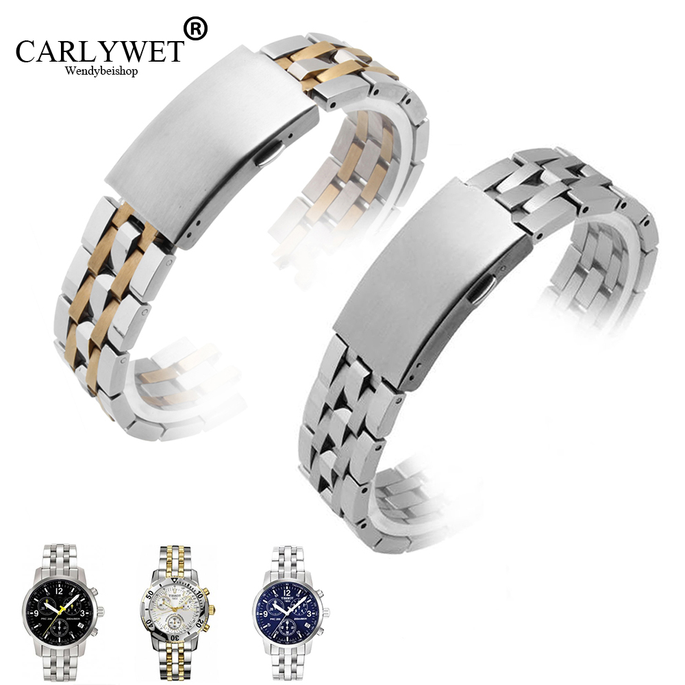 CARLYWET 19mm Silver Two Tone Gold <font><b>Watch</b></font> Band Hollow Curved End Bracelets For 1853 <font><b>PRC200</b></font> T17 T461 T014430 T014410CARLYWE image