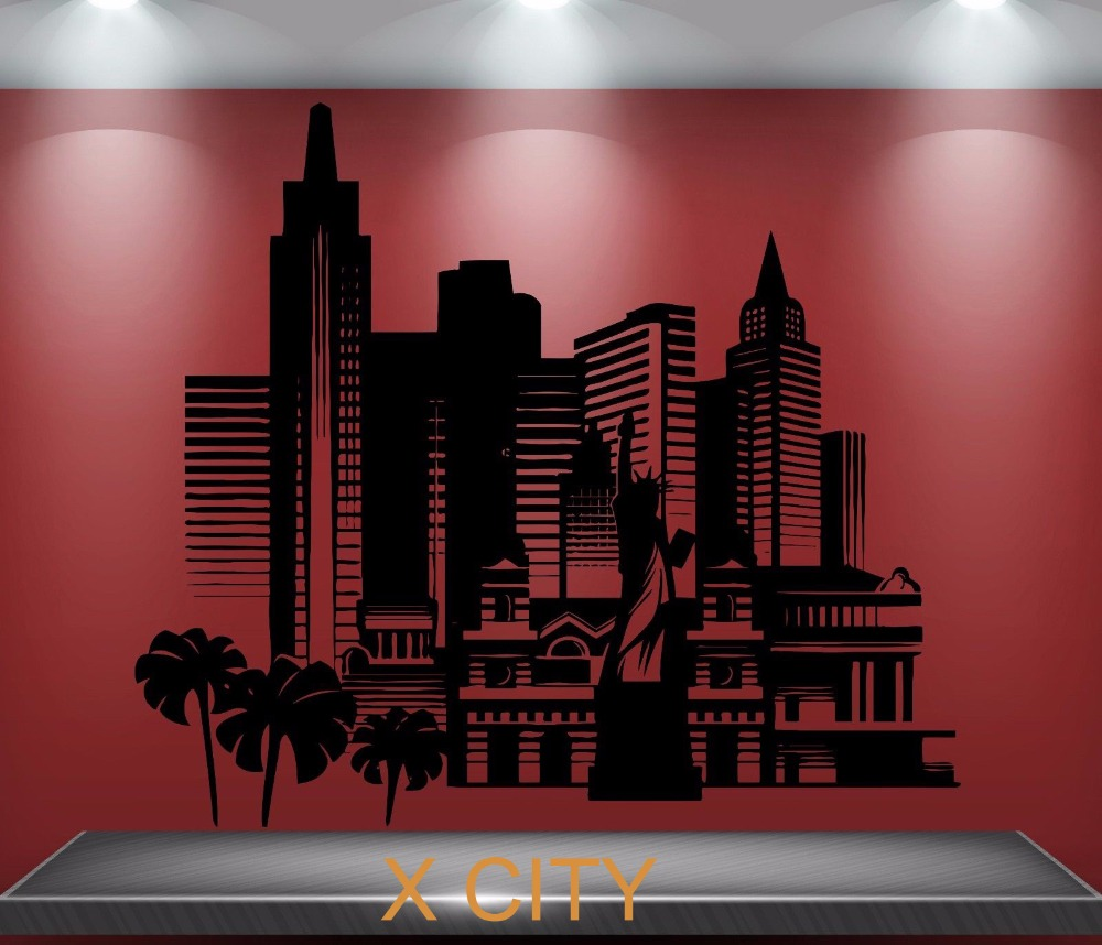 America City Skyscrapers Scenery Landmark Wall Decal Sticker Removable Vinyl Transfer Stencil Mural Home Room Decor image