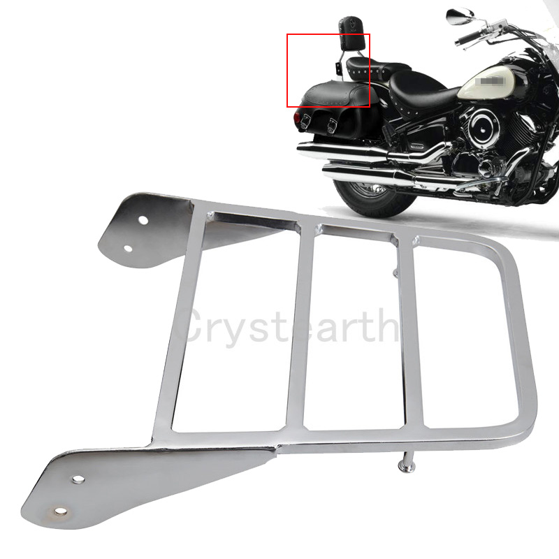 Chrome Motorcycle Sissy Bar Luggage Rack Holder For Yamaha Yamaha V-Star 400 650 <font><b>1100</b></font> Classic /Dragstar <font><b>XVS</b></font> <font><b>1100</b></font> 2000-2011 2010 image