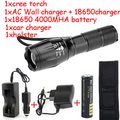 Waterproof Adjustable Focus Zoom 5 Mode 2000 lm CREE T6 LED Flashlight for Camping Hiking Cycling Torch Light kit