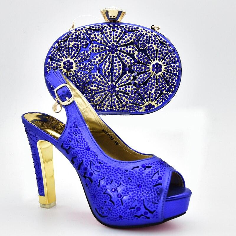 Strass Sac Ensemble Dames Avec Sacs Chaussures Décoré bleu or Femmes Et Ensembles Assortis Africain pourpre Pompes Les Talons Noir 2019 Italiennes Sexy 7Epqp5x