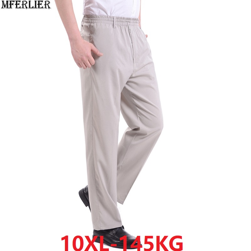 Summer Men Casual Home Pants Plus Size Big 7XL 8XL 9XL 10XL Man Pants Elasticity Stretch Loose Pants Straight Thin Trousers Blue