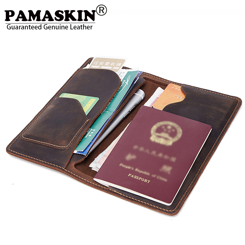 PAMASKIN Long Folio Leather Men Organizer Wallets Passport Holder Vintage Premium Cowhide 2018 New Arrivals Male Clutch Purses long wallets for business men luxurious 100% cowhide genuine leather vintage fashion zipper men clutch purses 2017 new arrivals