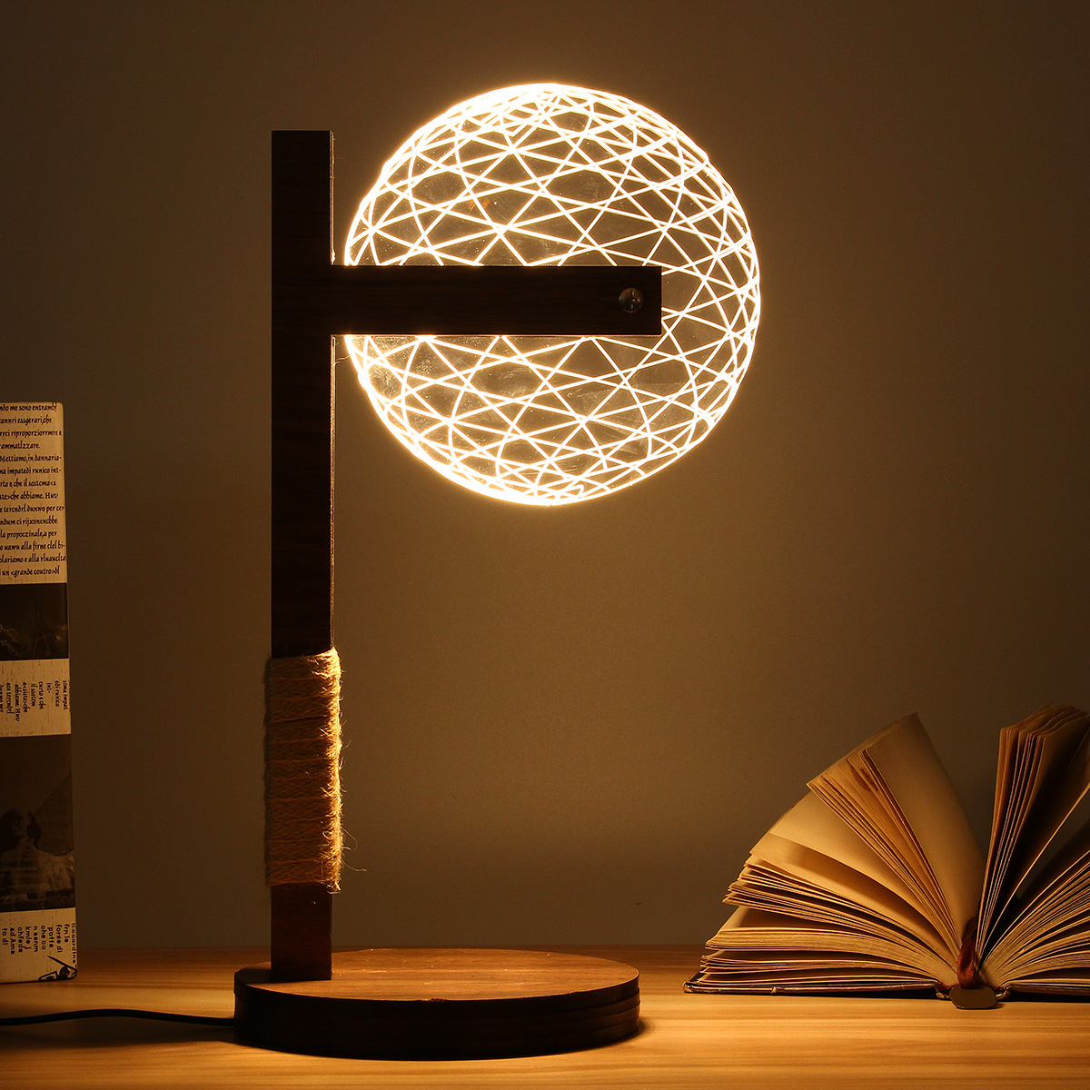 3D Round Ball Wood Stand Lamp Night Light Bedroom Table Desk Lamp Warm White Lighting Plug Connector Home Ornament adjustable owl shaped 3d wooden stand lamp night light bedroom table desk lamp warm white lighting plug connector home decor