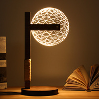 3D Round Ball Wood Stand Lamp Night Light Bedroom Table Desk Lamp Warm White Lighting Plug Connector Home Ornament