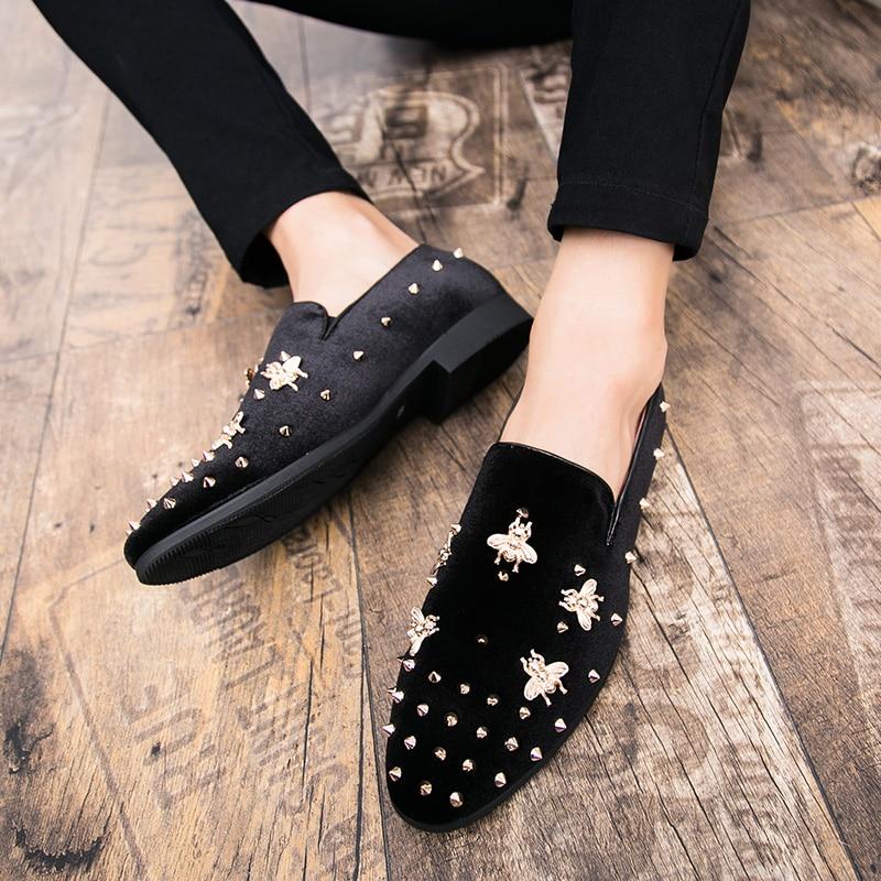 HTB1o75NsUR1BeNjy0Fmq6z0wVXa8 New Fashion Gold Top and Metal Toe Men Velvet Dress shoes Italian men's dress shoes Handmade Loafers