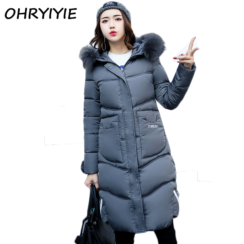 OHRYIYIE 2017 New Fashion Snow Wear Winter Coat Women Thick Warm Winter Jackets And Coats Female Hooded Fur Collar Parka M-3XL slim winter jackets women belt long down coat 2016 new fashion women s winter coat fur collar coats female thick warm parka y269