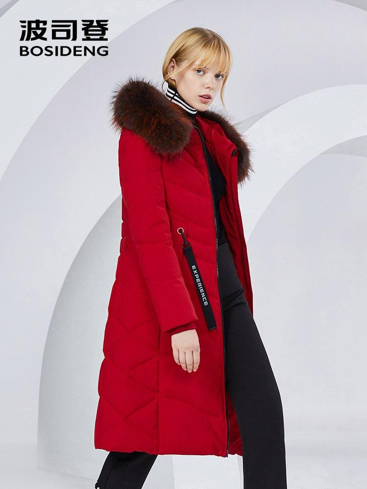 BOSIDENG x long abrigo de invierno para mujer chaqueta de plumón 90% plumón de pato thicken outwear Piel de mapache piel natural impermeable B80141046-in Plumíferos from Ropa de mujer    1