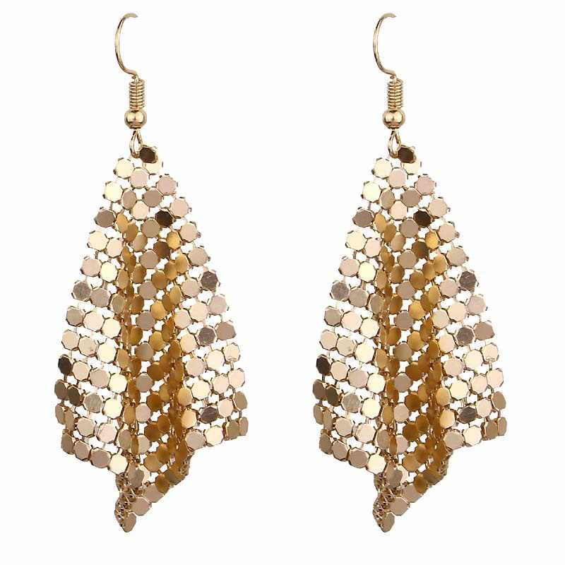2018 New Statement Jewelry Brand Sequin Tassel Long Drop Earring For Women Gold Sliver Black Color Dangle Cheap Earrings Bijoux
