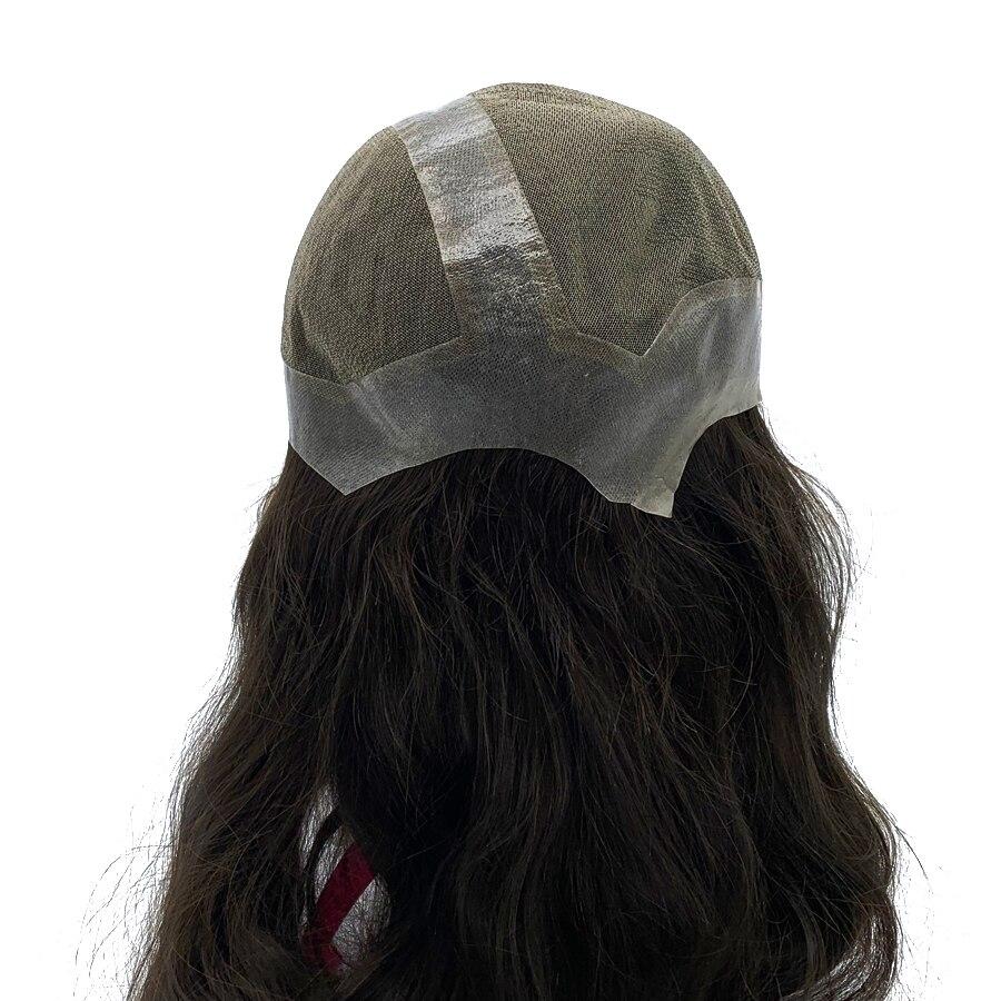 Customized Big Cap Toupee Human Hair Natural Wave Comfortable Lady Full Cap Wigs