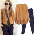 Ocidente estilo camisa de manga longa e calça casual ternos top + calças + lenço para a primavera e outono