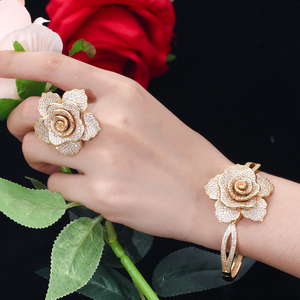 Image 5 - CWWZircons Luxury Cubic Zirconia Large Gold Geometric Flower Women Wedding Party Rings and Bangle Jewelry Sets for Brides T323