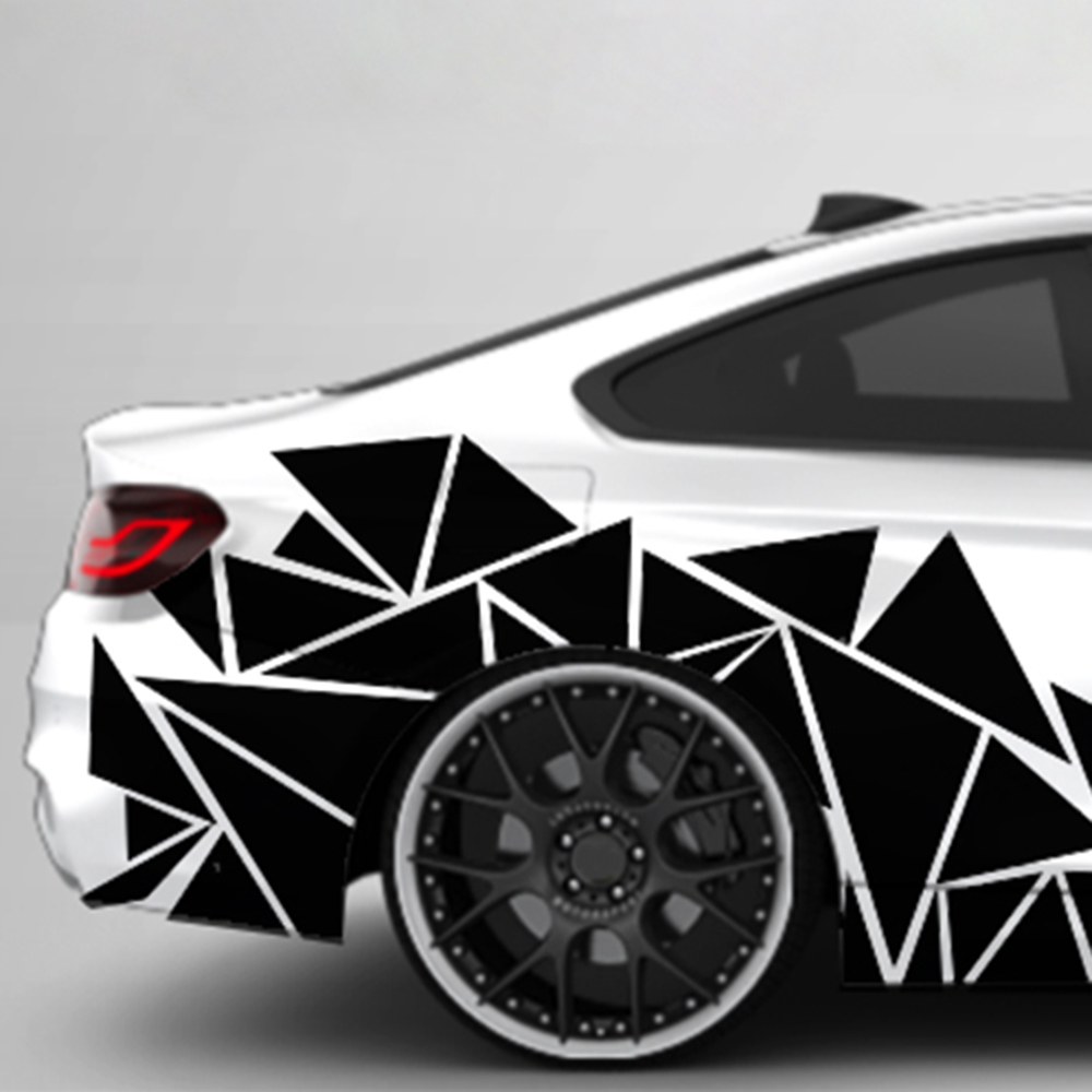 Mayitr 1pc 200x60cm Matte Black Triangles Car Side Sticker Camouflage Car-styling Vinyl Decal Decor For Car Decoration