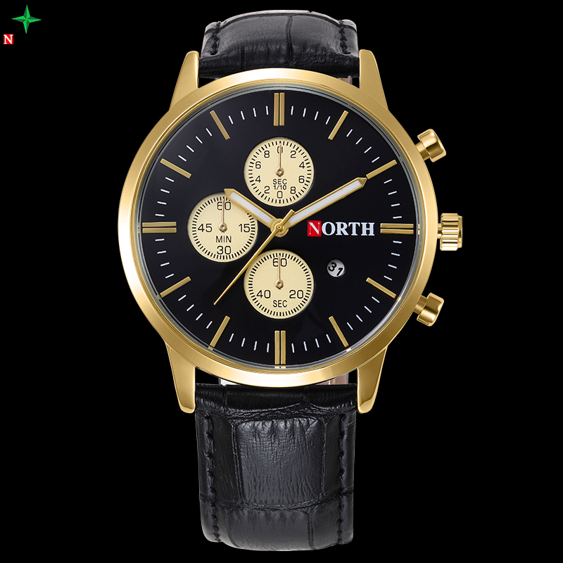 NORTH Leather Mens Watches Top Brand Luxury Wrist watch Gold Male Clock XFCS Reloj Hombre Waterproof Men Sports Quartz Watches mens watches top brand luxury mechanical watch men s waterproof military automatic wrist watch clock men hours 2017 reloj hombre