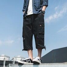 Safari Style Calf-Length Pants Solid Color Multi-Pockets Mens Elastic Waist Black Green Beige