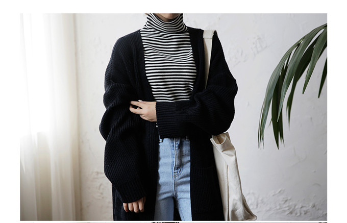 DICLOUD Fashion Long Cardigan Women 19 Fashion Harajuku Loose Knit Sweater Women Casual Black Oversized Jacket Coat Autumn 11
