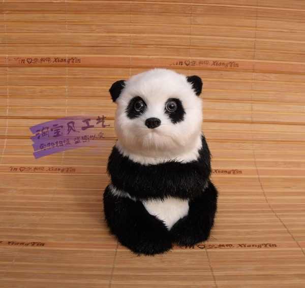小さなかわいいシミュレーション座りパンダおもちゃポリエチレン&毛皮白&黒パンダ人形ギフト約10 × 8 × 11センチ2458