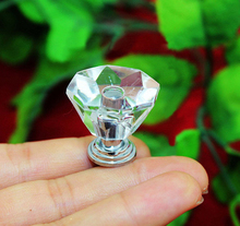 24mm Acrylic Crystal Diamond Dresser Drawer knobs Kitchen Cabinet Bathroom Vanity Door Pull Handle
