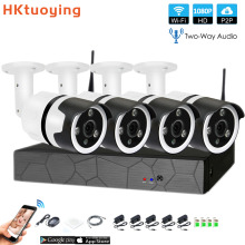 4CH two way audio talK HD Wireless NVR Kit P2P 1080P Indoor Outdoor IR Night Vision Security 2.0MP IP Camera WIFI CCTV System стоимость
