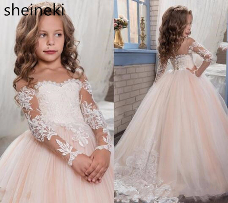 In Stock Lace Tulle Pink Ball Gown Flower Girl Dresses  For Wedding Full Long Sleeves Communion Dresses Vestido Daminha