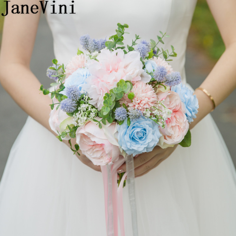 JaneVini 2018 Silk Peony Rose Bride Bouquet Holders Artificial Flowers Wedding Welcome Pink Blue Wedding Flowers