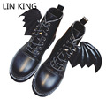 LIN KING New Fashion Women Snow Boots High Top Solid PU Lace-up Martin Boots Little Devil Wing Round Toe Thick Sole Female Botas