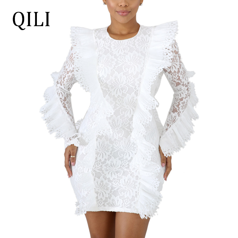 QILI White Blue Black Lace Dress Elegant Lady Long Sleeve O neck Lace UP Patchwork Short Style Mini Dresses Party Club Dress in Dresses from Women 39 s Clothing