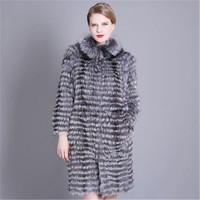Большие размеры 7XL, зимнее женское пальто из натурального меха лисы, зимнее модное пальто в полоску, женская теплая верхняя одежда, женская о