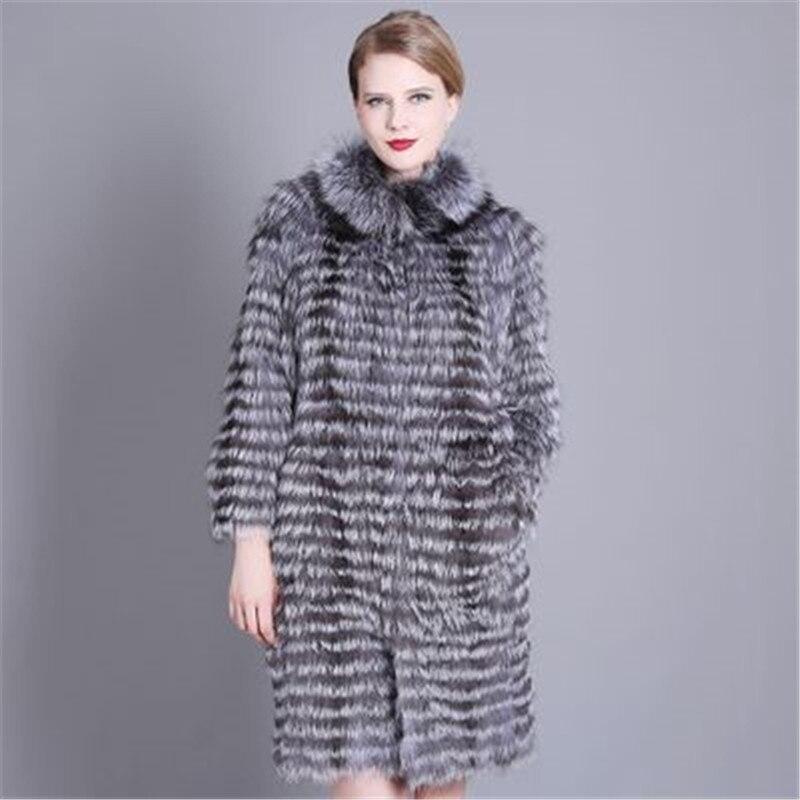 Plus la Taille 7XL hiver Femmes Argent Fourrure De Renard Manteau De Fourrure Naturelle Hiver Mode Rayé Pardessus Femelle Chaud Survêtement Dames Vêtements