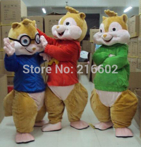 cosplay costumes  Alvin And Chipmunks Adult Szie Mascot Costume sales Fancy Dress Party Outfit Free shipping