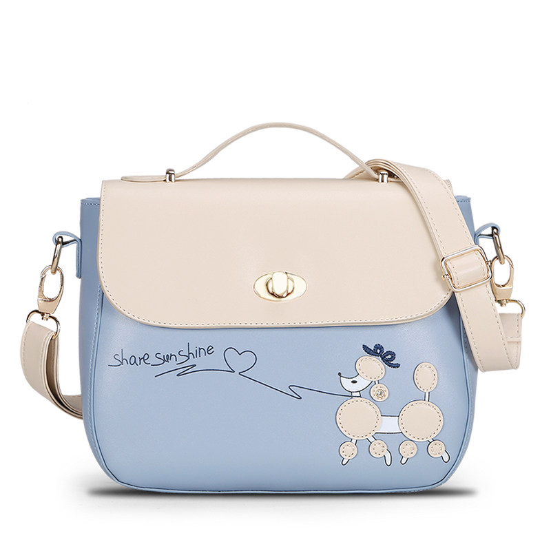 Cartoon Printing Messenger Bag Ladies Fresh Simple Shoulder Bag Contrast Color Lovely Cartoon Women PU Hand