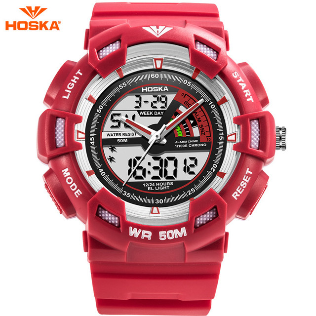 HOSKA Digital Watch for Kids Students Stopwatch Repeater Chronograph G Style S Shock 50m Waterproof Digital Watch Montre Enfant