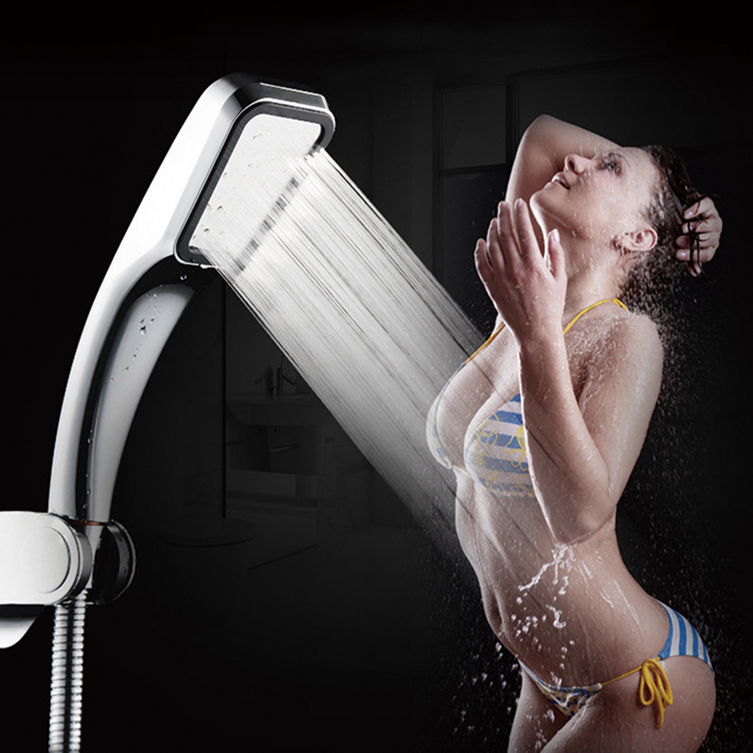 New Arrival 30% Water Saving 100% Pressure Boost Shower Head 300 Holes Quality ABS Nano Plating Hand Hold Bathroom Shower Head