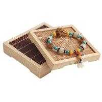1 Unids 11.5x11.5x2.5 cm Bambú De Madera Collar Pulsera Showcase Holder Jewelry Display Stand Rack Encanto H2227