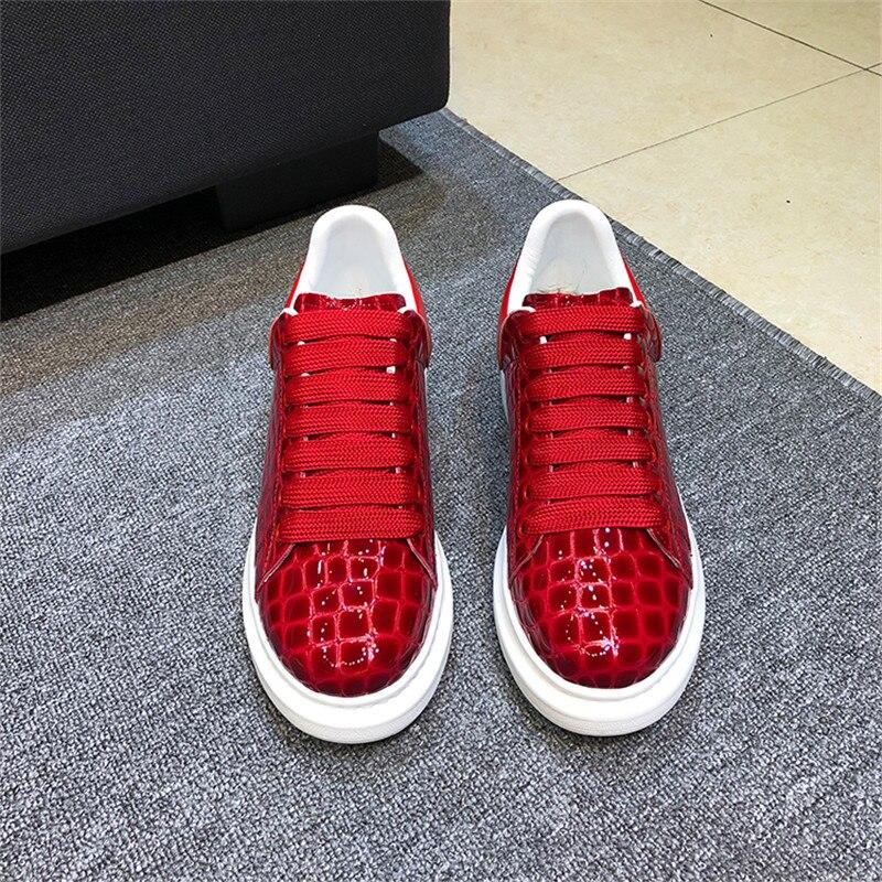 Décontracté Plate Mujer Chaussures As Cuir Pic À Couple Lacets Appartements De forme Sneakers En Pic Zapatos Rouge Femmes as Pierre Vache Motif qOFqASZw