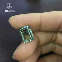 Tbj,8.2ct oct cut of Green amethyst 10*14mm for silver jewelry mounting,100% natural amethyst loose gemstones