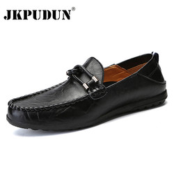 JKPUDUN Handmade Genuine Leather Men Casual Shoes Luxury Brand 2019 Men Loafers Moccasins Breathable Slip on Black Driving Shoes