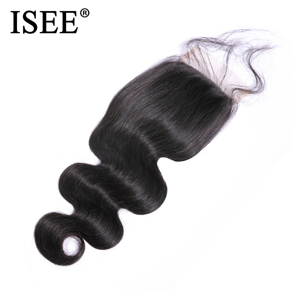 ISEE HAIR Malaysian Body Wave Closure 4 x 4 Swiss Lace Closure Free Part 100 Remy