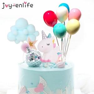 Rainbow Unicorn Cake Topper Cloud Cake Flags Birthday Kids Favors Cake Decoration Cupcake Topper for Wedding Dessert Table Decor(China)