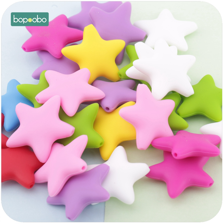 Bopoobo Baby Silicone Star 5PC Silicone Beads Teether Mixed Colors 37mm Teething Accessories DIY Necklace Baby Teether