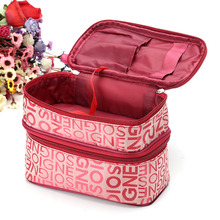 2017 Fashion Double Layer Letters Cosmetic Bag Makeup Tool Storage Bag Multifunctional Storage Package Free Shipping FA$B