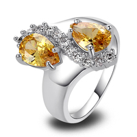 WholesaleWater Drop New Jewelry Fashion Women\'s Golden Citrine & White Topaz 925 Silver Ring Size 7 8 9 10 Free Shipping