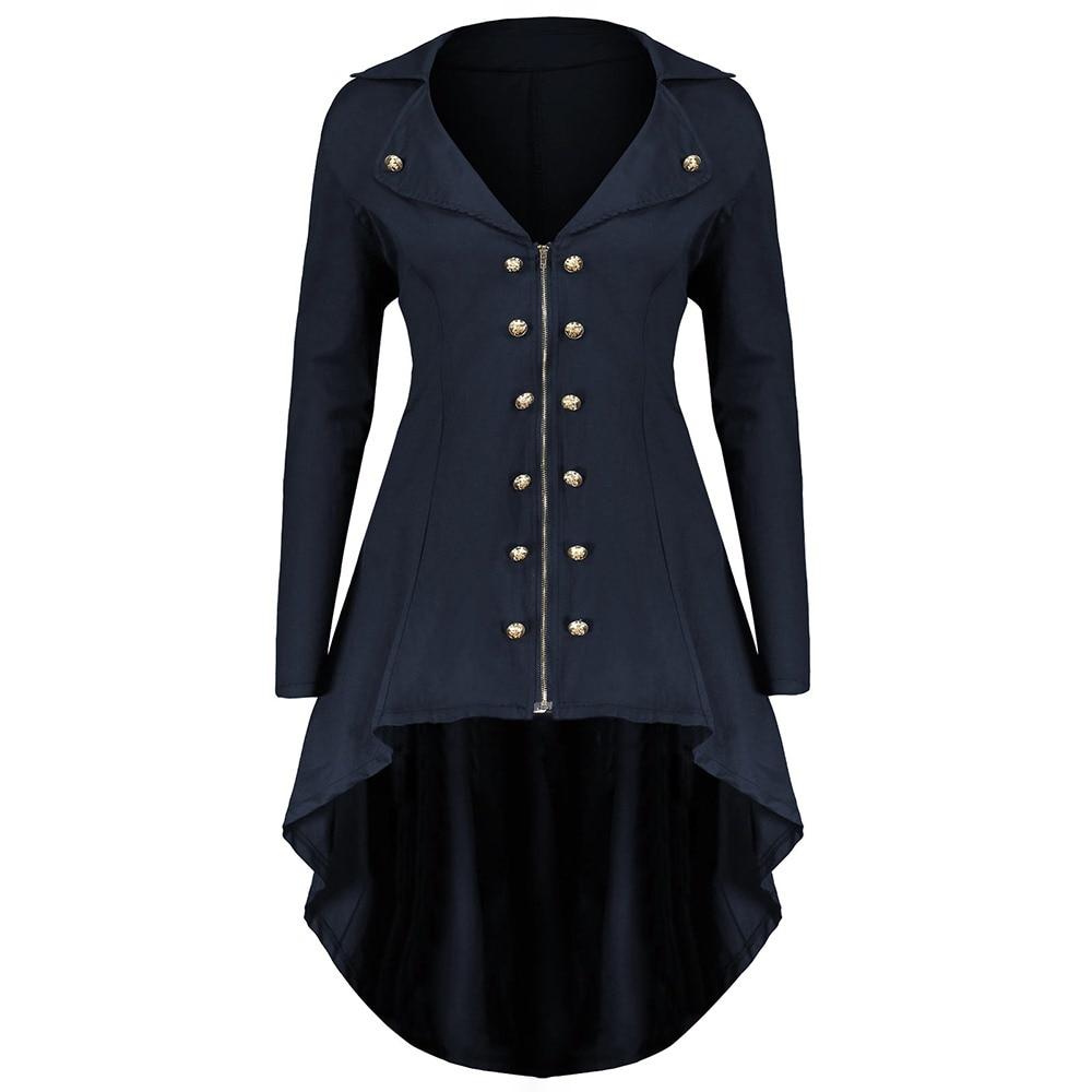 Gothic Plus Size Blue Long Trench Coats Women Slim Asymmetric