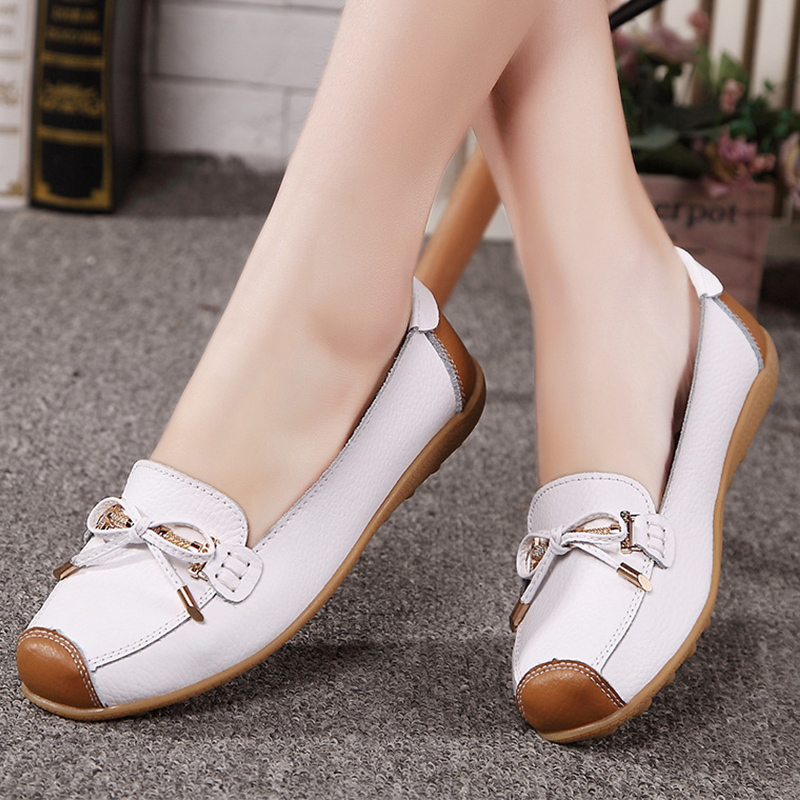 Shoes woman genuine leather shoes butterfly knot solid slip-on loafers round toe flat shoes women tenis feminino size 35-40 wolf who genuine leather women shoes ladies spring krasovki slipony slip on loafers woman tenis feminino casual h 049