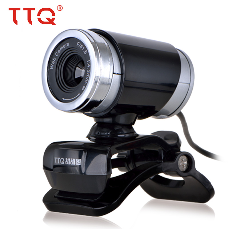 TTQ USB 2.0 Webcam for Skype Desktop Computer Laptop 1.5M Cable HD Web Camera with Night Vision for 360 Degree microphone